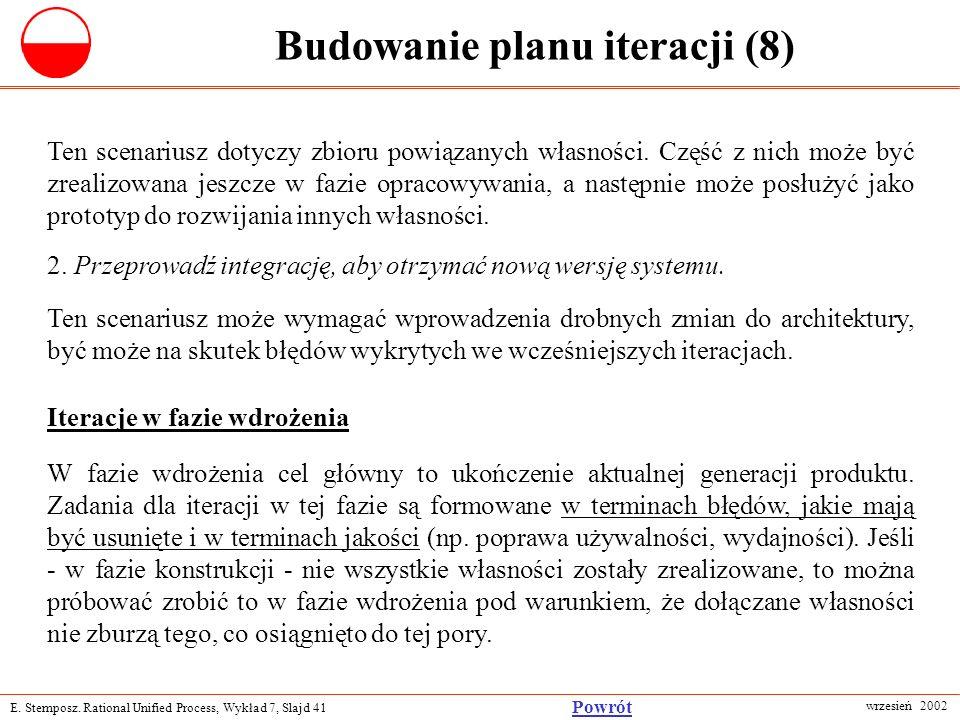 E. Stemposz. Rational Unified Process, Wykład 7, Slajd 41 wrzesień 2002 Powrót Budowanie planu iteracji (8) Ten scenariusz dotyczy zbioru powiązanych