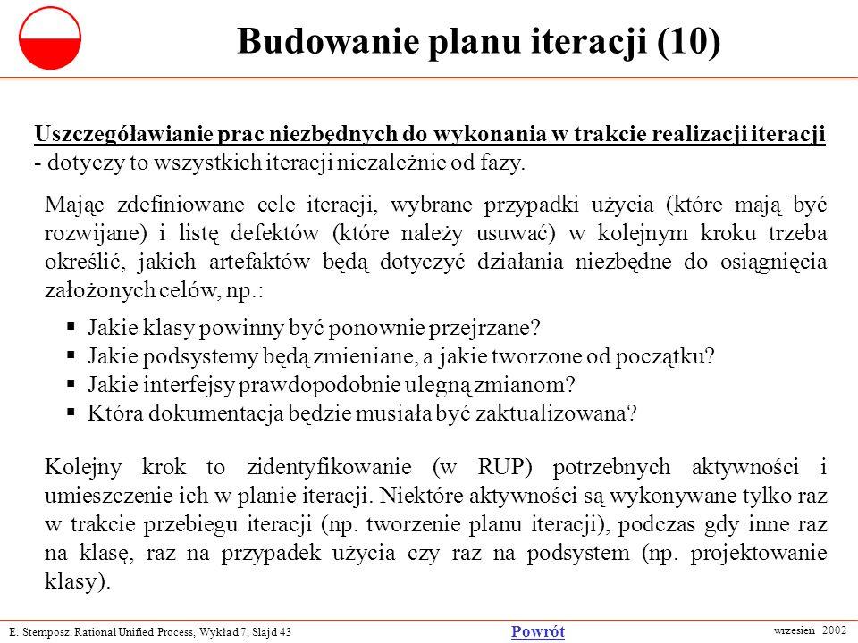 E. Stemposz. Rational Unified Process, Wykład 7, Slajd 43 wrzesień 2002 Powrót Budowanie planu iteracji (10) Uszczegóławianie prac niezbędnych do wyko