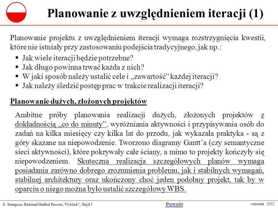 E. Stemposz. Rational Unified Process, Wykład 7, Slajd 5 wrzesień 2002 Powrót Planowanie z uwzględnieniem iteracji (1) Planowanie projektu z uwzględni