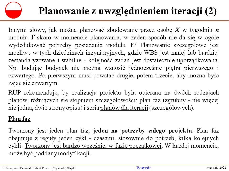 E. Stemposz. Rational Unified Process, Wykład 7, Slajd 6 wrzesień 2002 Powrót Planowanie z uwzględnieniem iteracji (2) Innymi słowy, jak można planowa