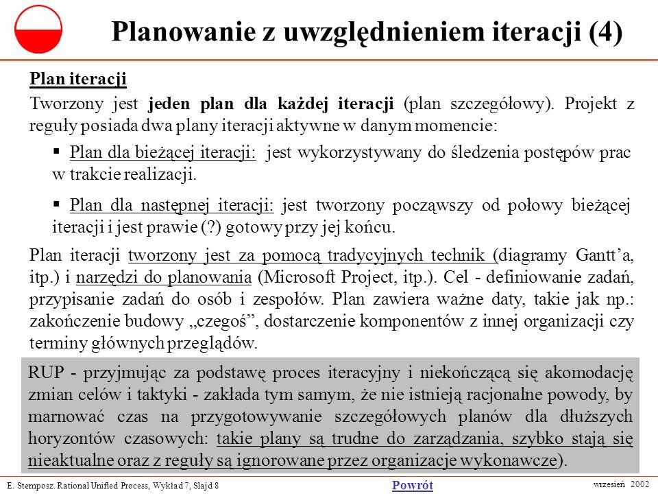 E. Stemposz. Rational Unified Process, Wykład 7, Slajd 8 wrzesień 2002 Powrót Planowanie z uwzględnieniem iteracji (4) Plan iteracji Tworzony jest jed