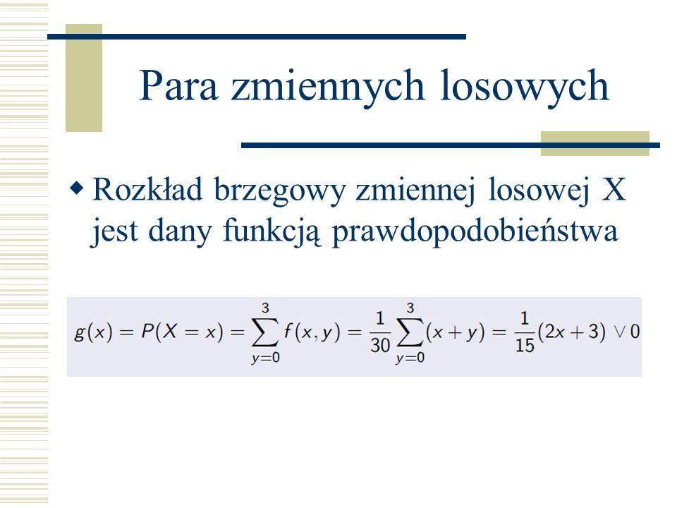 Para zmiennych losowych Rozkład brzegowy zmiennej losowej X jest dany funkcją prawdopodobieństwa