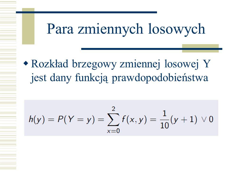 Para zmiennych losowych Rozkład brzegowy zmiennej losowej Y jest dany funkcją prawdopodobieństwa