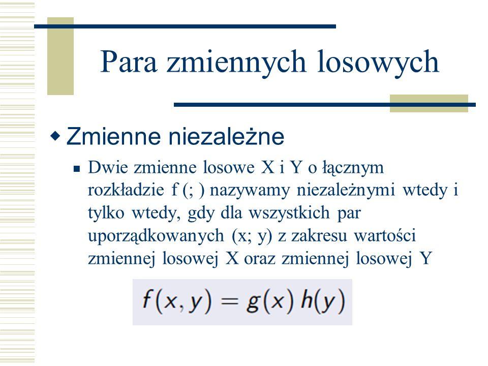 Zmienne niezależne Dwie zmienne losowe X i Y o łącznym rozkładzie f (; ) nazywamy niezależnymi wtedy i tylko wtedy, gdy dla wszystkich par uporządkowa