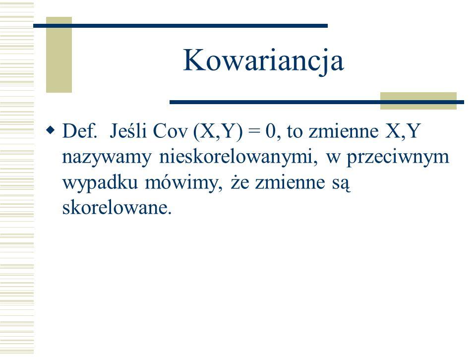 Kowariancja Def. Jeśli Cov (X,Y) = 0, to zmienne X,Y nazywamy nieskorelowanymi, w przeciwnym wypadku mówimy, że zmienne są skorelowane.