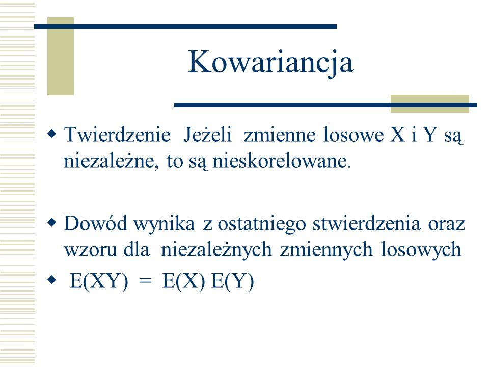 Kowariancja Twierdzenie Jeżeli zmienne losowe X i Y są niezależne, to są nieskorelowane. Dowód wynika z ostatniego stwierdzenia oraz wzoru dla niezale