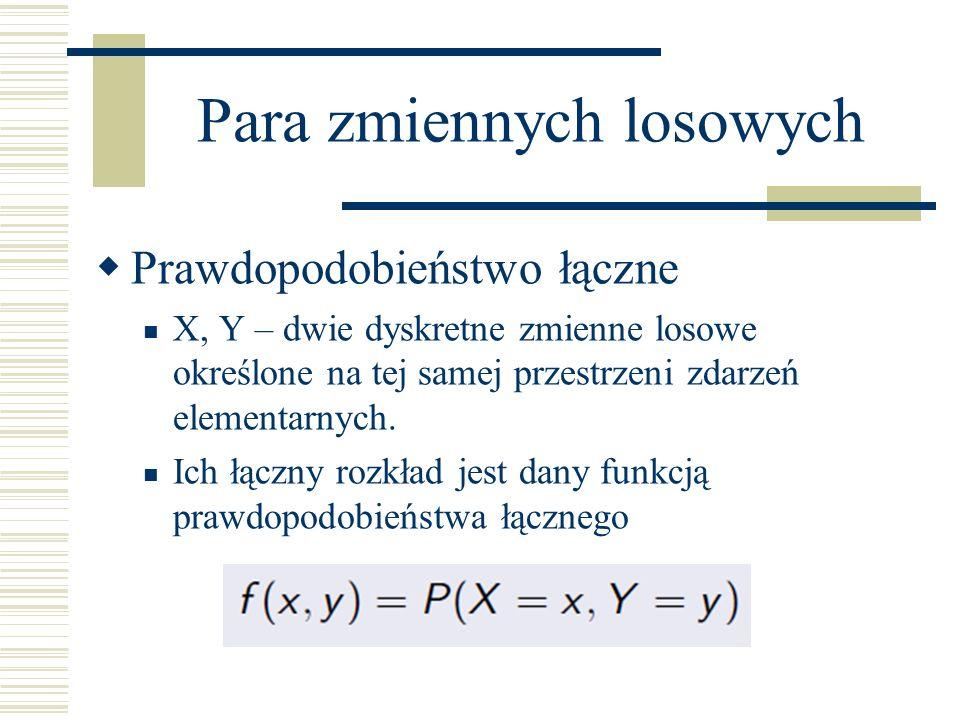 Para zmiennych losowych Określająca prawdopodobieństwo jednoczesnego przyjęcia przez zmienną losową X wartości x i przez zmienną losową Y wartości y.