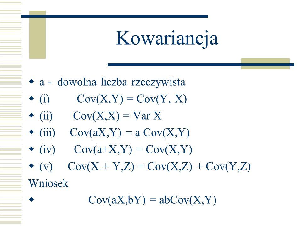 Kowariancja a - dowolna liczba rzeczywista (i) Cov(X,Y) = Cov(Y, X) (ii) Cov(X,X) = Var X (iii) Cov(aX,Y) = a Cov(X,Y) (iv) Cov(a+X,Y) = Cov(X,Y) (v)