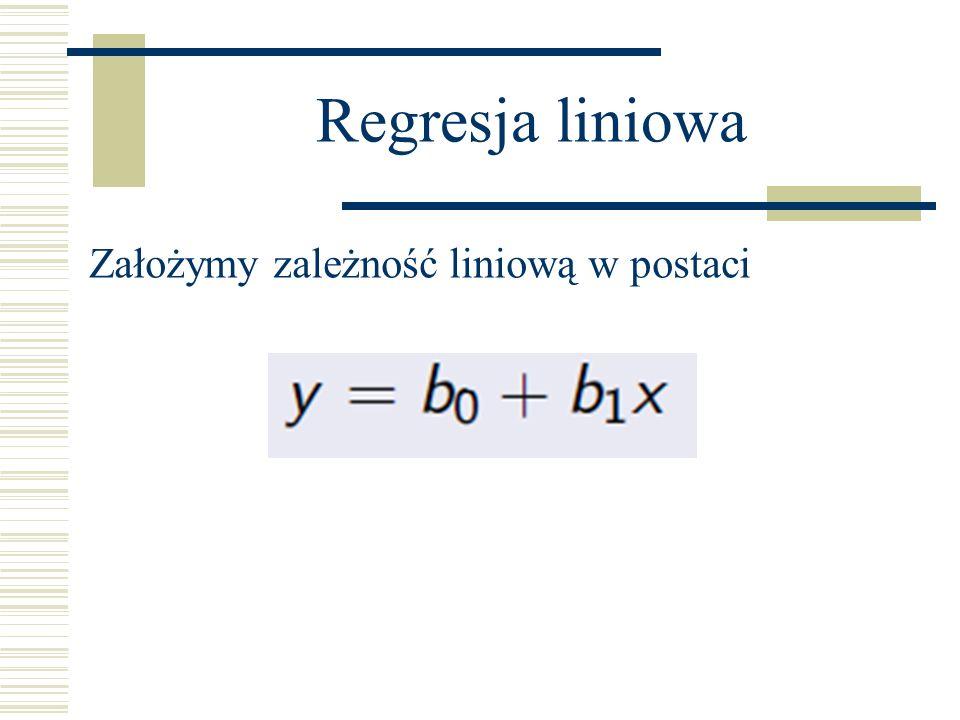 Regresja liniowa Założymy zależność liniową w postaci