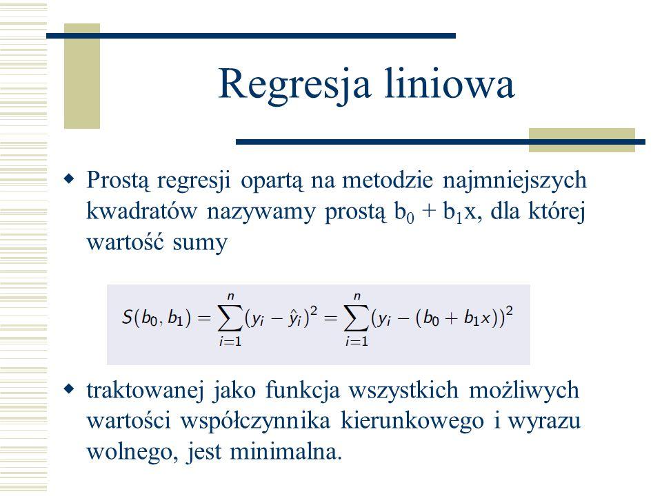 Regresja liniowa Prostą regresji opartą na metodzie najmniejszych kwadratów nazywamy prostą b 0 + b 1 x, dla której wartość sumy traktowanej jako funk