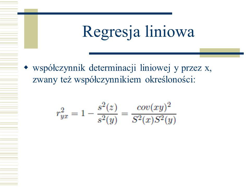 współczynnik determinacji liniowej y przez x, zwany też współczynnikiem określoności:
