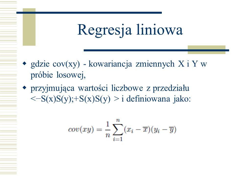 Regresja liniowa gdzie cov(xy) - kowariancja zmiennych X i Y w próbie losowej, przyjmująca wartości liczbowe z przedziału i definiowana jako: