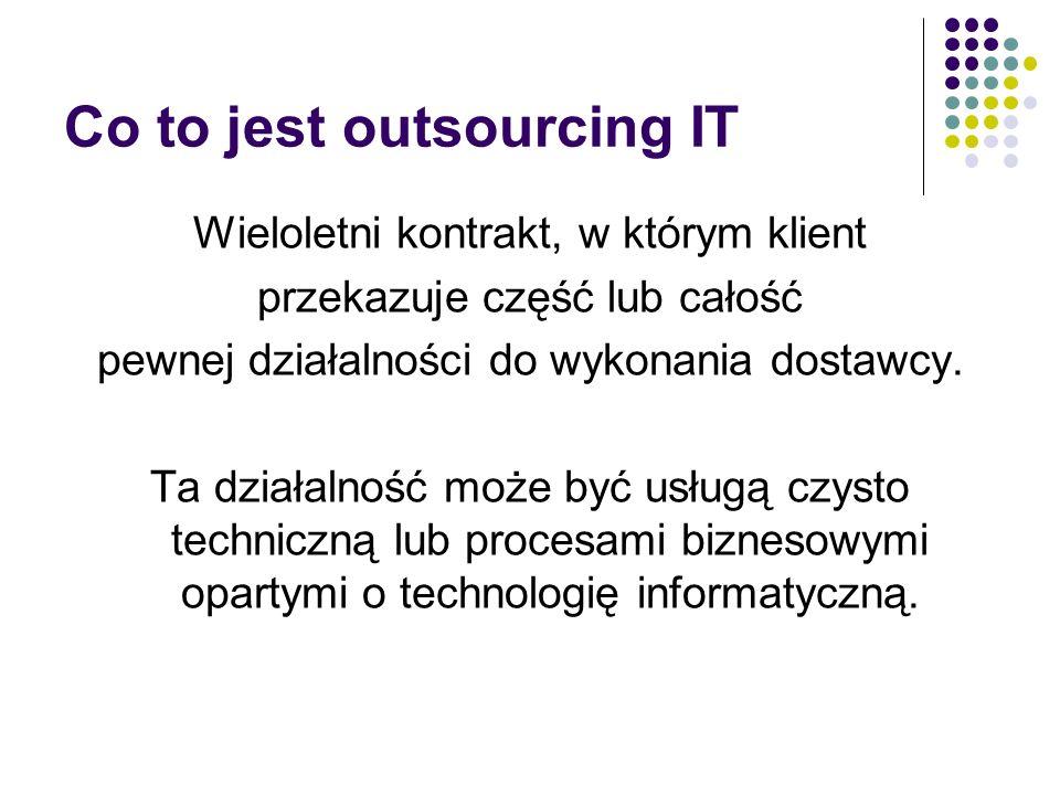 Outsourcing IT obejmuje: Eksploatacja systemów komputerowych (System Operations) Zarządzanie infrastrukturą biurową (Desktop Service) Zarządzanie sieciami (Network Management) Zarządzanie Internetem