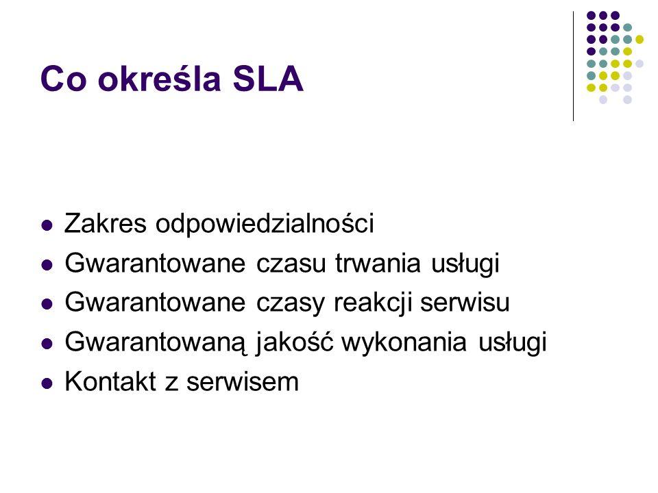 SLA - przykład 1.Cel 2. Usługi świadczone regularnie 3.