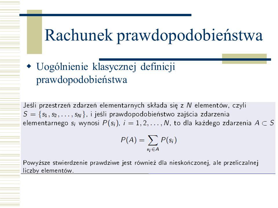 Rachunek prawdopodobieństwa Uogólnienie klasycznej definicji prawdopodobieństwa