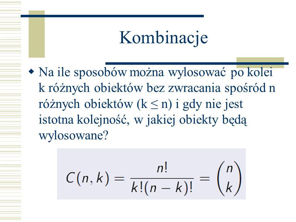Kombinacje Na ile sposobów można wylosować po kolei k różnych obiektów bez zwracania spośród n różnych obiektów (k n) i gdy nie jest istotna kolejność