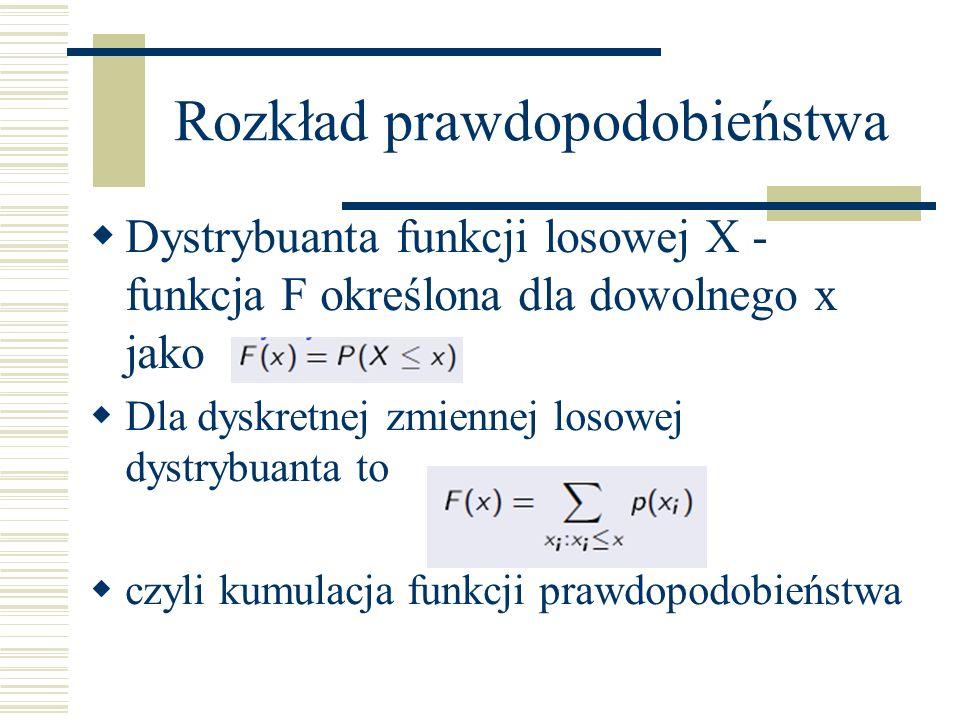 Rozkład prawdopodobieństwa Dystrybuanta funkcji losowej X - funkcja F określona dla dowolnego x jako Dla dyskretnej zmiennej losowej dystrybuanta to czyli kumulacja funkcji prawdopodobieństwa