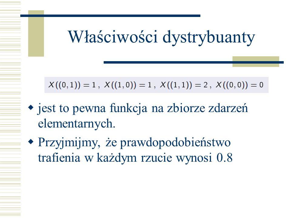 Właściwości dystrybuanty jest to pewna funkcja na zbiorze zdarzeń elementarnych. Przyjmijmy, że prawdopodobieństwo trafienia w każdym rzucie wynosi 0.