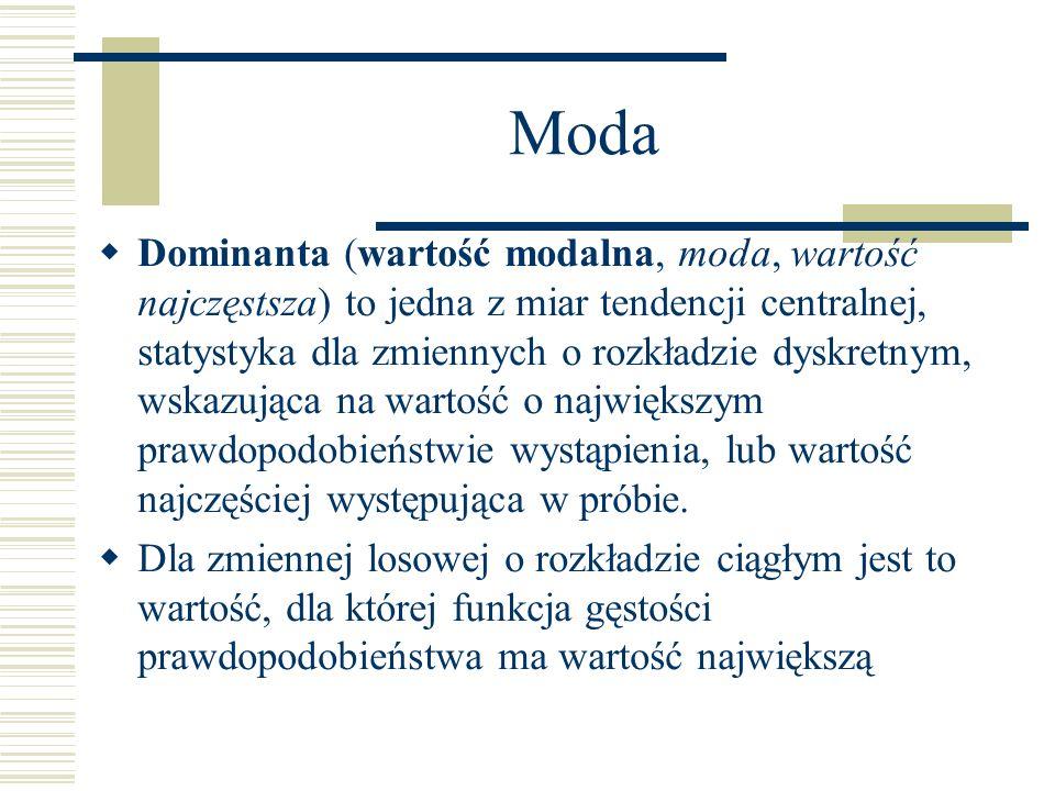 Moda Dominanta (wartość modalna, moda, wartość najczęstsza) to jedna z miar tendencji centralnej, statystyka dla zmiennych o rozkładzie dyskretnym, ws