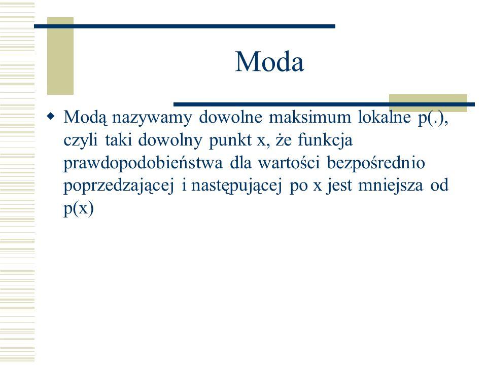 Moda Modą nazywamy dowolne maksimum lokalne p(.), czyli taki dowolny punkt x, że funkcja prawdopodobieństwa dla wartości bezpośrednio poprzedzającej i