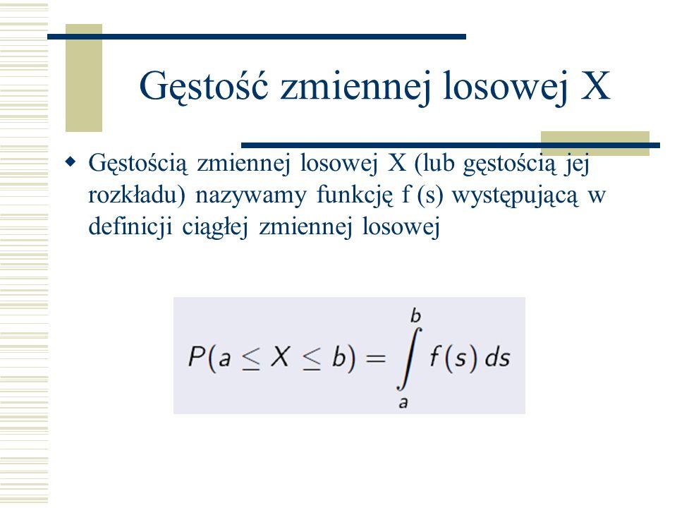 Gęstość zmiennej losowej X Gęstością zmiennej losowej X (lub gęstością jej rozkładu) nazywamy funkcję f (s) występującą w definicji ciągłej zmiennej losowej