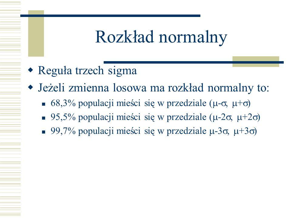 Rozkład normalny Reguła trzech sigma Jeżeli zmienna losowa ma rozkład normalny to: 68,3% populacji mieści się w przedziale ( -, + ) 95,5% populacji mieści się w przedziale ( -2, +2 ) 99,7% populacji mieści się w przedziale -3, +3 )