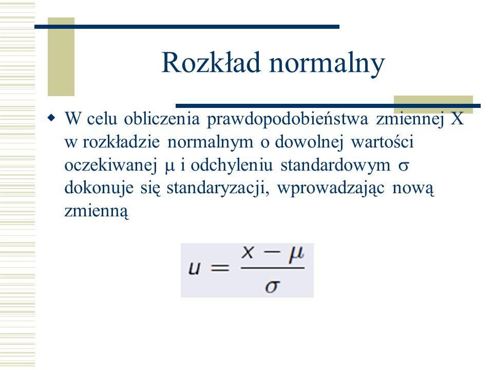 Rozkład normalny W celu obliczenia prawdopodobieństwa zmiennej X w rozkładzie normalnym o dowolnej wartości oczekiwanej i odchyleniu standardowym dokonuje się standaryzacji, wprowadzając nową zmienną