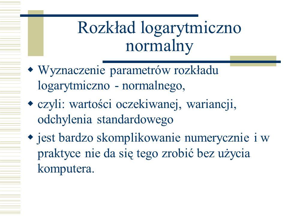 Rozkład logarytmiczno normalny Wyznaczenie parametrów rozkładu logarytmiczno - normalnego, czyli: wartości oczekiwanej, wariancji, odchylenia standardowego jest bardzo skomplikowanie numerycznie i w praktyce nie da się tego zrobić bez użycia komputera.