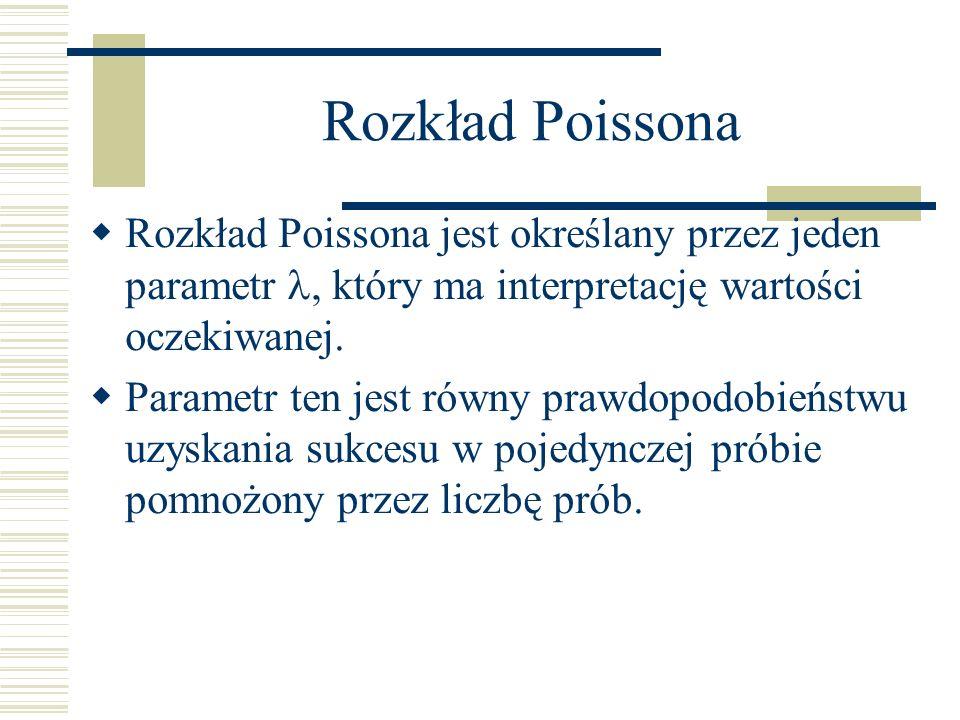 Rozkład Poissona Rozkład Poissona jest określany przez jeden parametr, który ma interpretację wartości oczekiwanej. Parametr ten jest równy prawdopodo