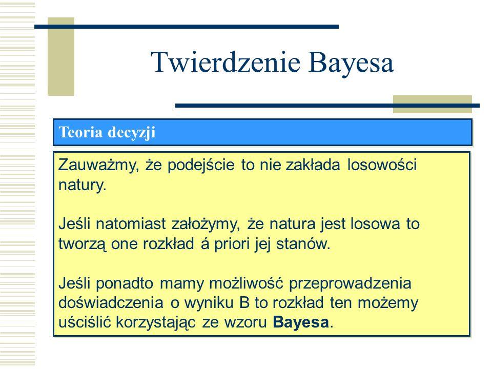 Twierdzenie Bayesa Teoria decyzji Zauważmy, że podejście to nie zakłada losowości natury. Jeśli natomiast założymy, że natura jest losowa to tworzą on