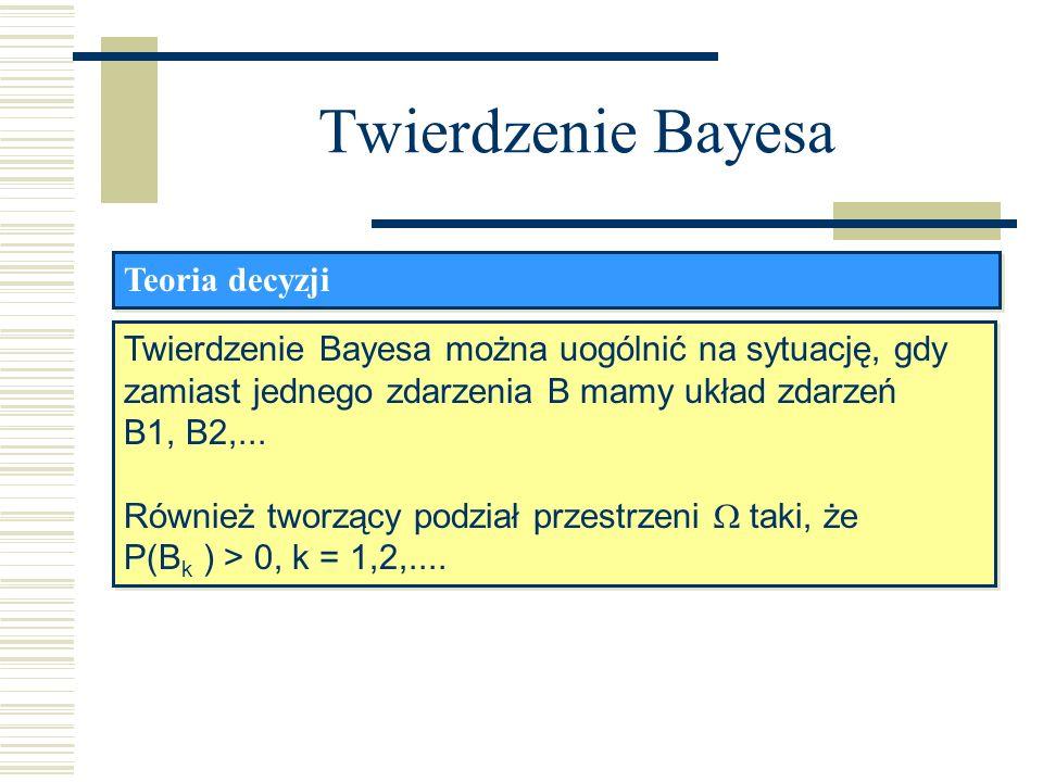 Twierdzenie Bayesa Teoria decyzji Twierdzenie Bayesa można uogólnić na sytuację, gdy zamiast jednego zdarzenia B mamy układ zdarzeń B1, B2,... Również