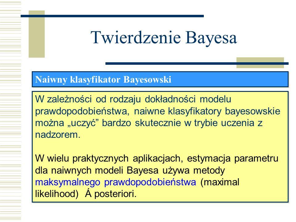 Twierdzenie Bayesa Naiwny klasyfikator Bayesowski W zależności od rodzaju dokładności modelu prawdopodobieństwa, naiwne klasyfikatory bayesowskie możn