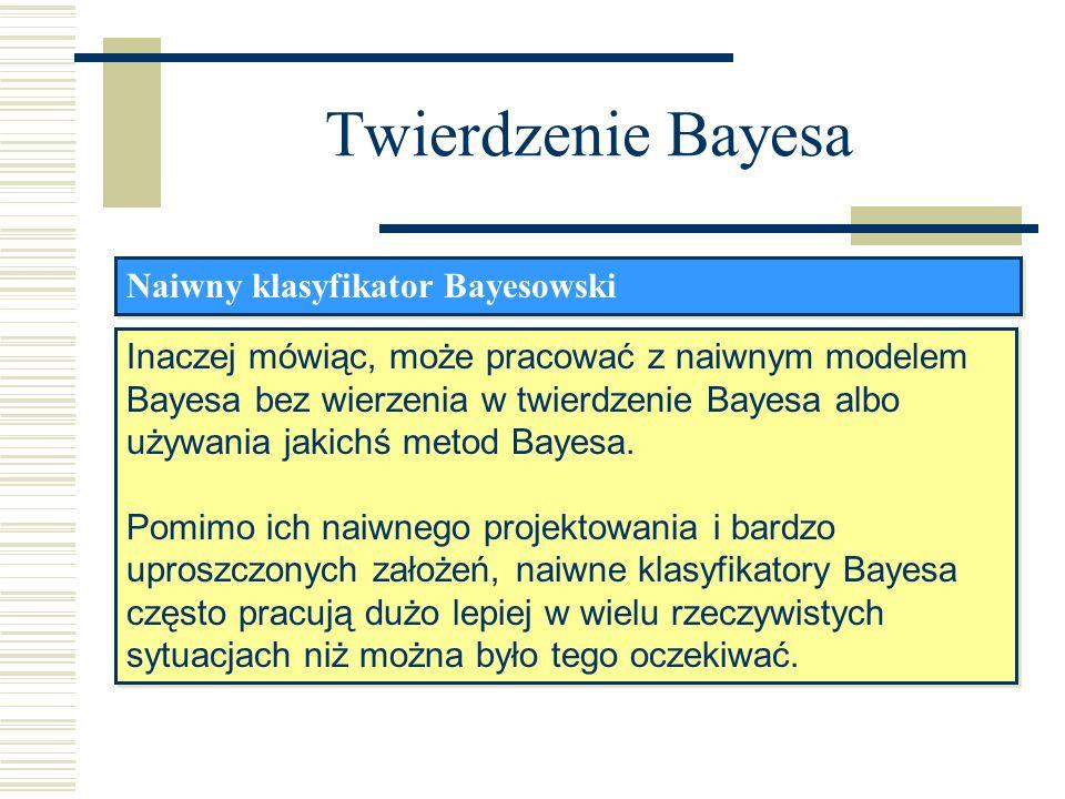 Twierdzenie Bayesa Naiwny klasyfikator Bayesowski Inaczej mówiąc, może pracować z naiwnym modelem Bayesa bez wierzenia w twierdzenie Bayesa albo używa