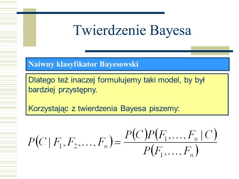Twierdzenie Bayesa Naiwny klasyfikator Bayesowski Dlatego też inaczej formułujemy taki model, by był bardziej przystępny. Korzystając z twierdzenia Ba