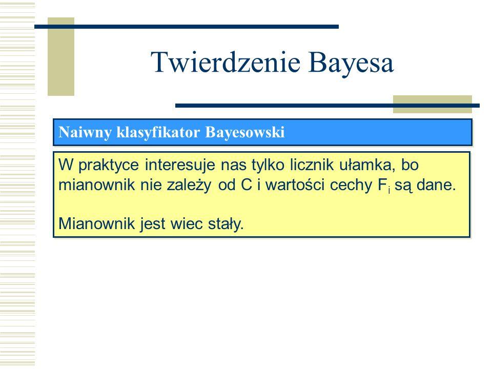 Twierdzenie Bayesa Naiwny klasyfikator Bayesowski W praktyce interesuje nas tylko licznik ułamka, bo mianownik nie zależy od C i wartości cechy F i są