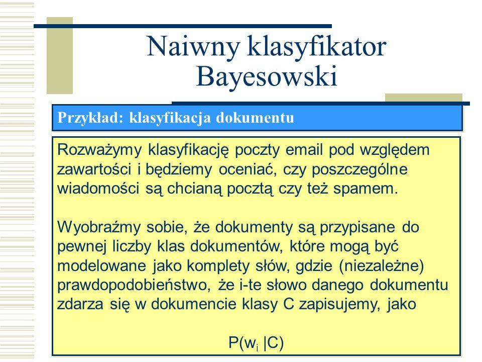 Naiwny klasyfikator Bayesowski Przykład: klasyfikacja dokumentu Rozważymy klasyfikację poczty email pod względem zawartości i będziemy oceniać, czy po