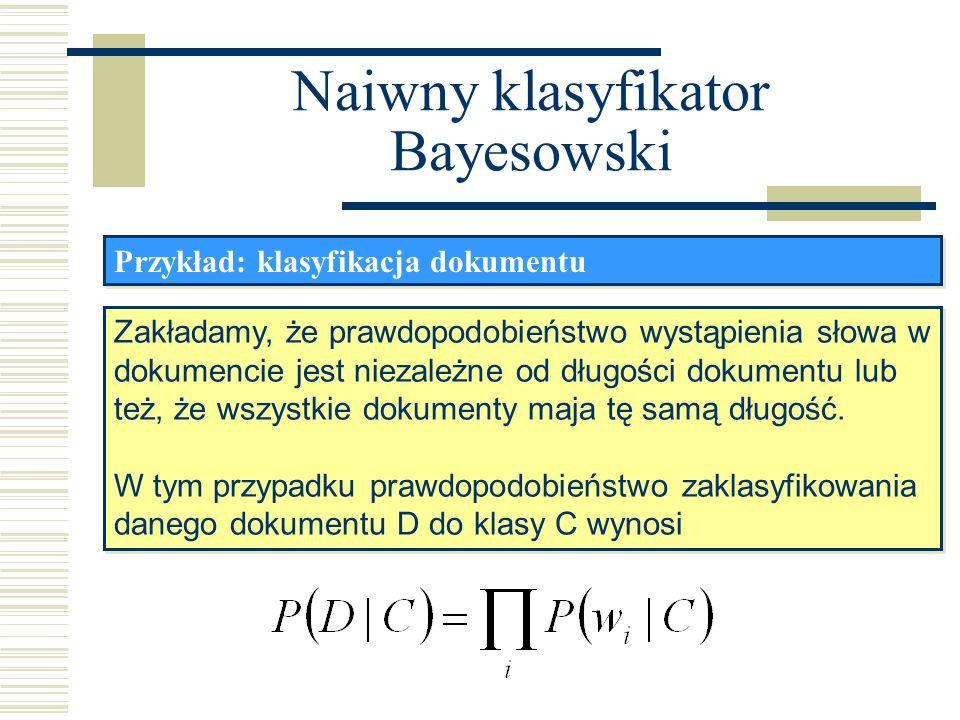Naiwny klasyfikator Bayesowski Przykład: klasyfikacja dokumentu Zakładamy, że prawdopodobieństwo wystąpienia słowa w dokumencie jest niezależne od dłu