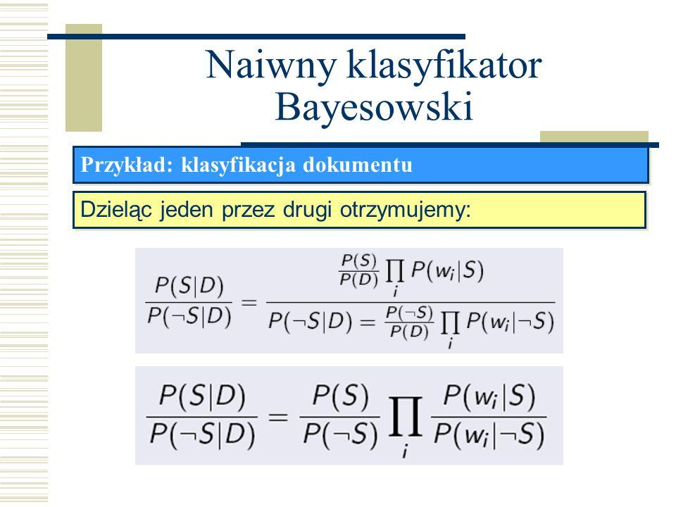 Naiwny klasyfikator Bayesowski Przykład: klasyfikacja dokumentu Dzieląc jeden przez drugi otrzymujemy: