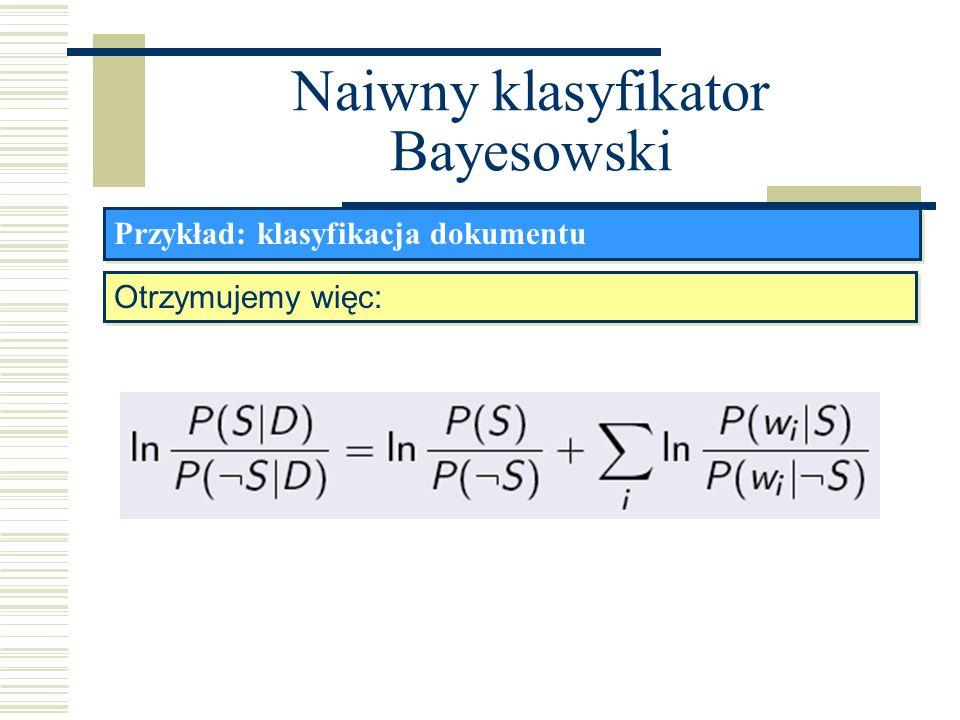 Naiwny klasyfikator Bayesowski Przykład: klasyfikacja dokumentu Otrzymujemy więc:
