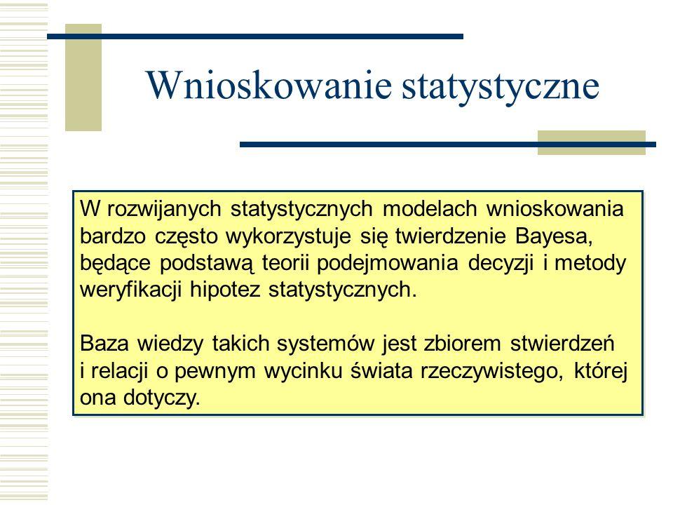 Wnioskowanie statystyczne W rozwijanych statystycznych modelach wnioskowania bardzo często wykorzystuje się twierdzenie Bayesa, będące podstawą teorii