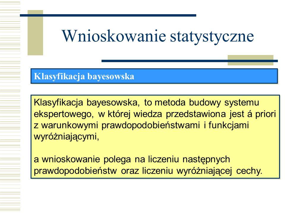 Wnioskowanie statystyczne Klasyfikacja bayesowska, to metoda budowy systemu ekspertowego, w której wiedza przedstawiona jest á priori z warunkowymi pr