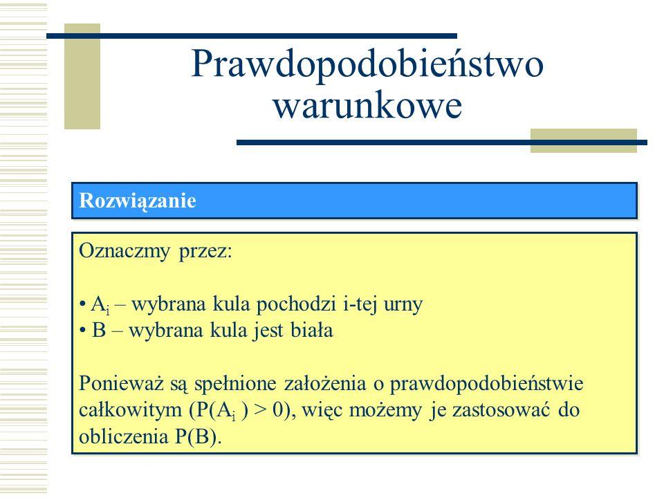 Naiwny klasyfikator Bayesowski Przykład: klasyfikacja dokumentu Pytanie, na jakie chcemy odpowiedzieć brzmi: jakie jest prawdopodobieństwo, że dany dokument D należy do danej klasy C.
