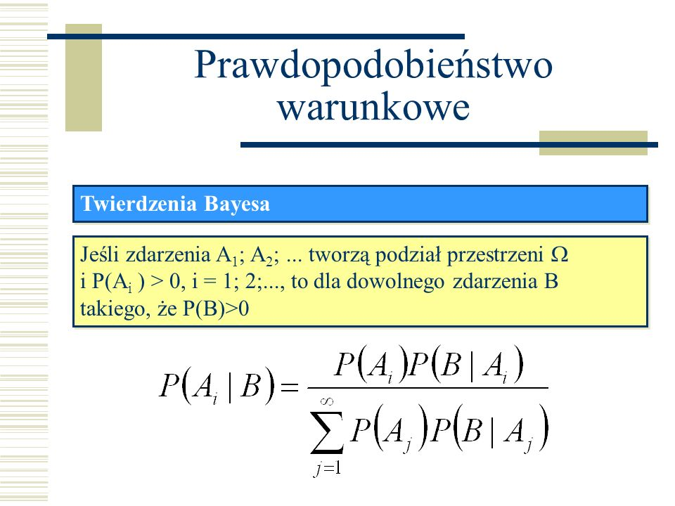 Prawdopodobieństwo warunkowe Twierdzenia Bayesa Jest to wzór na prawdopodobieństwo á posteriori, gdyż dotyczy prawdopodobieństwa zajścia zdarzenia A i po zajściu zdarzenia B.