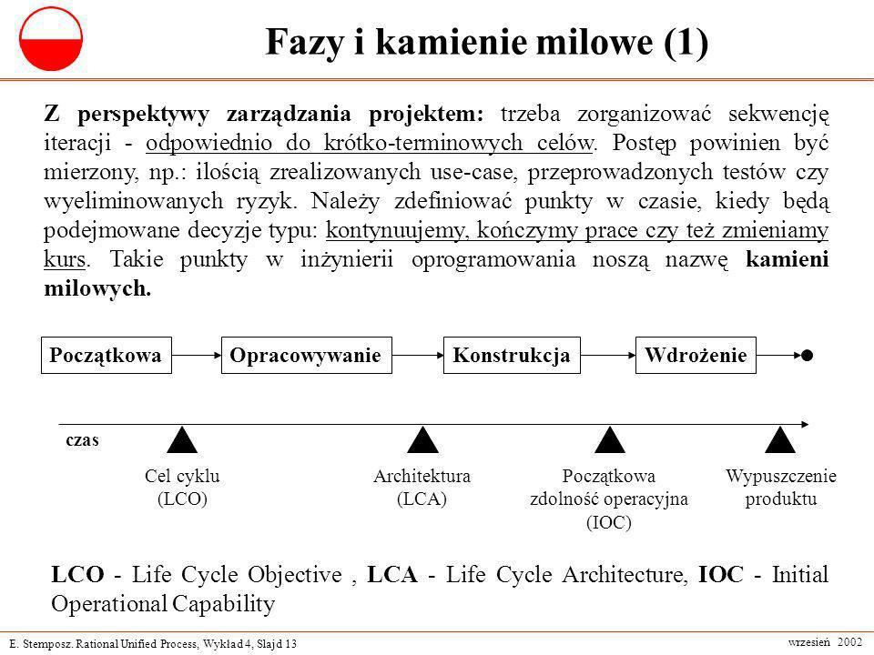 E. Stemposz. Rational Unified Process, Wykład 4, Slajd 13 wrzesień 2002 Fazy i kamienie milowe (1) Z perspektywy zarządzania projektem: trzeba zorgani