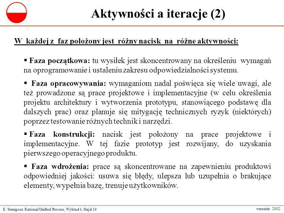 E. Stemposz. Rational Unified Process, Wykład 4, Slajd 19 wrzesień 2002 Aktywności a iteracje (2) W każdej z faz położony jest różny nacisk na różne a