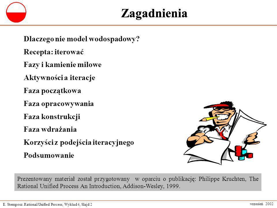 E. Stemposz. Rational Unified Process, Wykład 4, Slajd 2 wrzesień 2002 Zagadnienia Dlaczego nie model wodospadowy? Recepta: iterować Fazy i kamienie m