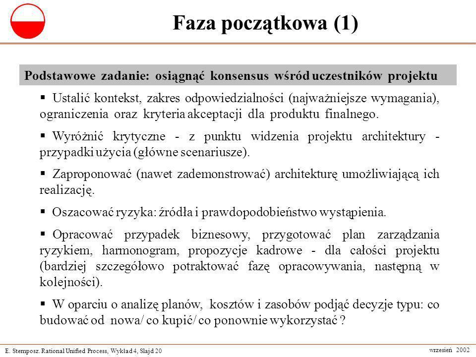 E. Stemposz. Rational Unified Process, Wykład 4, Slajd 20 wrzesień 2002 Faza początkowa (1) Podstawowe zadanie: osiągnąć konsensus wśród uczestników p