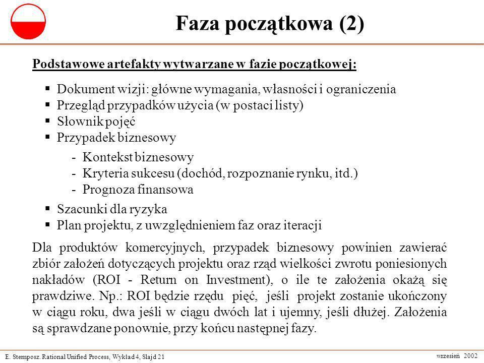 E. Stemposz. Rational Unified Process, Wykład 4, Slajd 21 wrzesień 2002 Faza początkowa (2) Podstawowe artefakty wytwarzane w fazie początkowej: Dokum