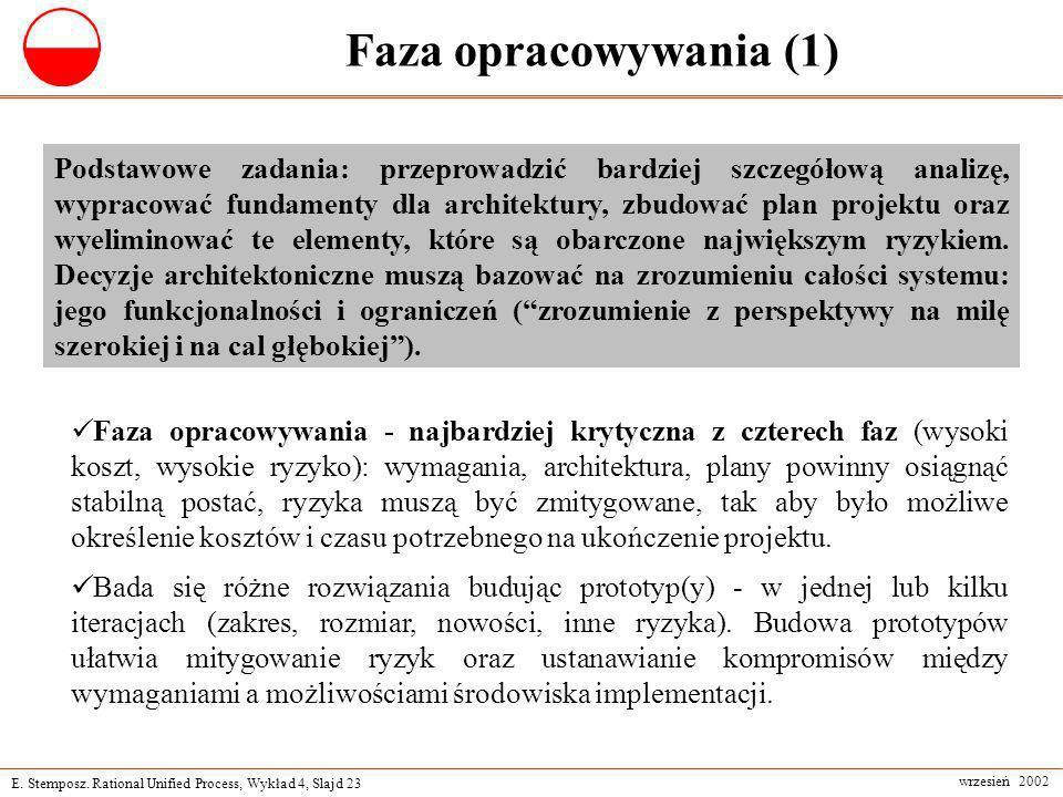 E. Stemposz. Rational Unified Process, Wykład 4, Slajd 23 wrzesień 2002 Faza opracowywania (1) Podstawowe zadania: przeprowadzić bardziej szczegółową