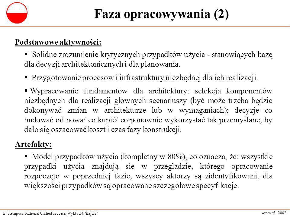 E. Stemposz. Rational Unified Process, Wykład 4, Slajd 24 wrzesień 2002 Faza opracowywania (2) Podstawowe aktywności: Solidne zrozumienie krytycznych